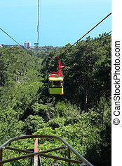 Aerial Ropeway - Yellow overhead cable car moving from...