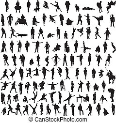 Collection silhouettes of men - more than 100 different...