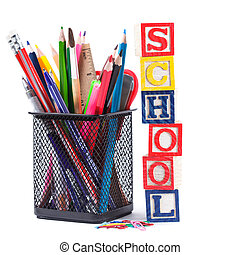 Stationary for school - Black pencil cup with stationary for...