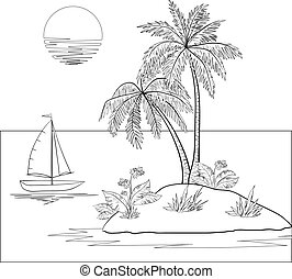 Island with palm and ship - Ship, sun, tropical sea island...