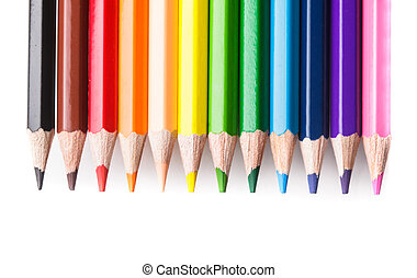 Rainbow color pencils set in line isolated on white