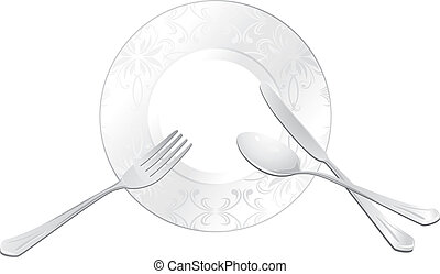 Plate with spoon, fork and knife