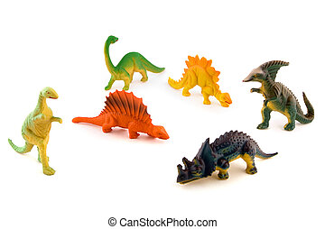 Group of toy plastic dinosaurs