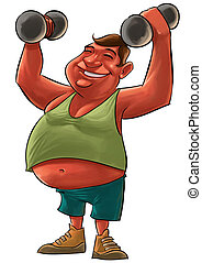 fat man - fat young man smiling and lifting a Dumbbells