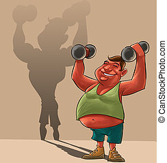 fat man dreaming - young fat man lifiting Dumbbells and...