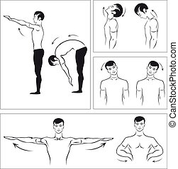Exercises to relax the spine - Vector set of physical...