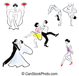 Illustration of five dance styles: Japanese dance, capoeira,...