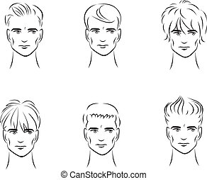 Men's hairstyles - Illustration of the six options for men's...