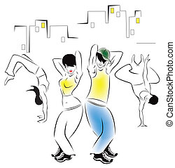 Dancing young people - Illustration of dancing young people...