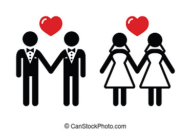 Gay marriage icons set - Lesbian, gay wedding black icons