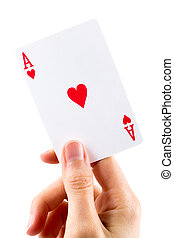 Ace of hearts being held over white - Ace of hearts being...