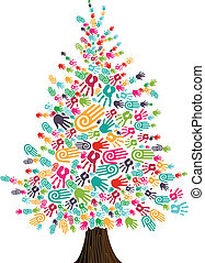 Diversity Christmas Tree hands isolated for greeting card....