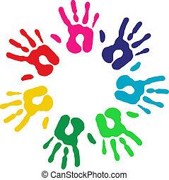 multicolor, diversidad, Manos, círculo