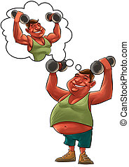 fat man dreaming - young fat man lifting Dumbbells and...