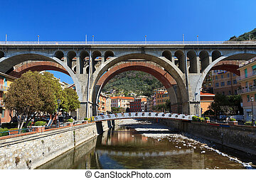 bridges in Sori, Italy - urban view in Sori with the road...