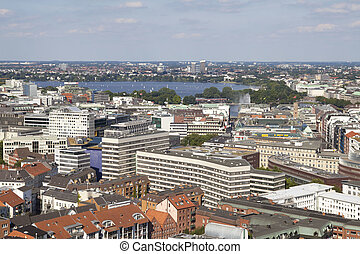 Hamburg with Alster lake - View on Hamburg city with Alster...
