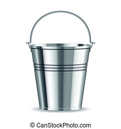 metal bucket with handle on a white background. vector...