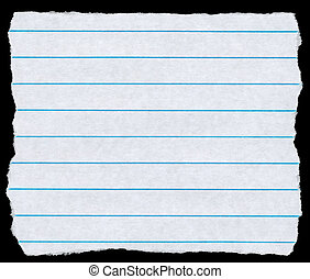 Square torn piece of white lined paper isolated on black