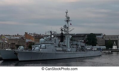 frigate - Russian Navy frigate at anchor in St Petersburg,...