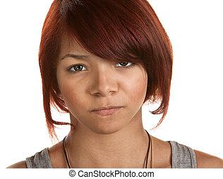 Frowning Young Woman - Frowning young woman isolated over...