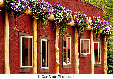 Red Flower Wall - a Red Wall with flowers and windows