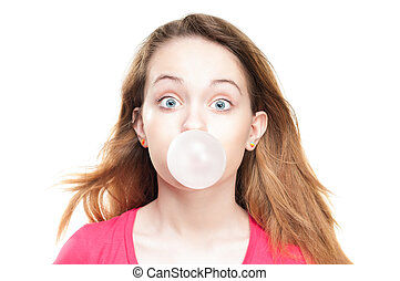 Girl blowing bubble from chewing gum - Beautiful and shocked...