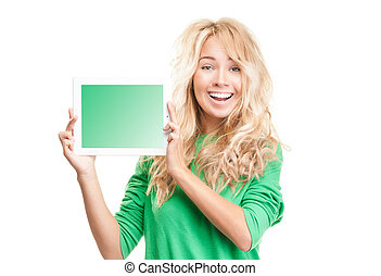 Beautiful and happy young woman with tablet computer -...