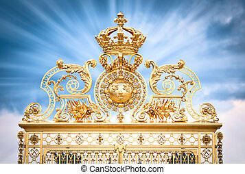 Golden gate of Chateau de Versailles. Paris, France, Europe....
