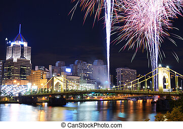 PIttsburgh Fireworks - Fireworks on the Allegheny river in...