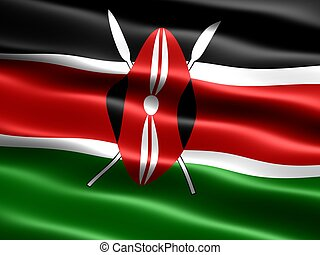 Flag of Kenya, computer generated illustration with silky...
