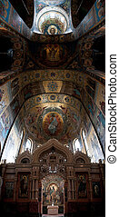 The Church of Our Savior on the Spilled Blood interior panorama of the ceiling. Saint Petersburg, Russia.