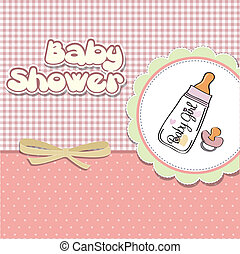 new baby girl announcement card with milk bottle and...