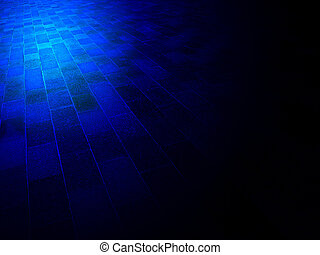 magic blue light over vintage brick wall, architecture details
