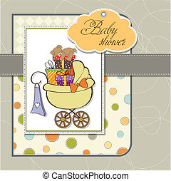 baby shower card with gift boxes