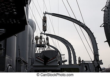 Cruiser Aurora Russian historic warship In St-Petersburg,...