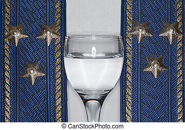 Colonel epaulets and vodka - Colonel epaulets and a stack of...