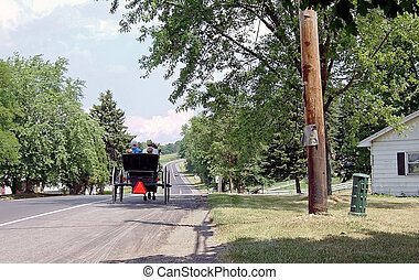 Amish Buggy - Amish buggy traveling down the road