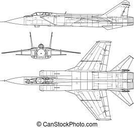 Mig 31 - High detailed vector illustration of a modern...