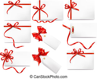 Set of card notes with red bows