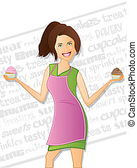 Cupcake Girl with Background Text - Pretty woman wearing a...