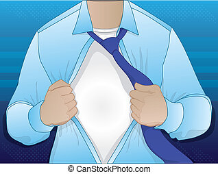 Business Man Opening Shirt - Illustration of a guy wearing a...