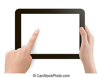 Hands holding digital tablet pc illustration
