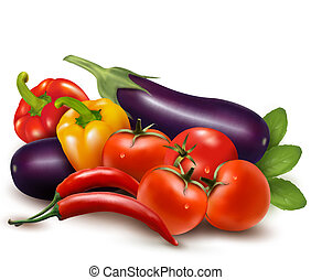 The colorful group of vegetables - The big colorful group of...