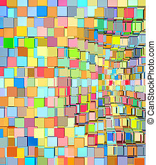 abstract fragmented pattern in rainbow color on white
