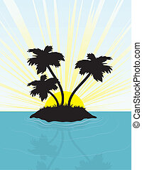 Island Silhouette - Island in silhouette in front of the...