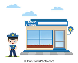 police officer - police station with police officer in front...
