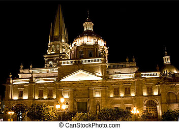 Cathedral of Guadalajara Mexico at Night Resubmit--In...