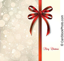 Red bow on a magical Christmas card. Vector background