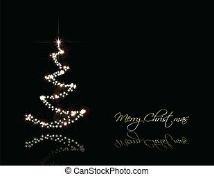 Christmas black card with gold tree Vector - Vector...