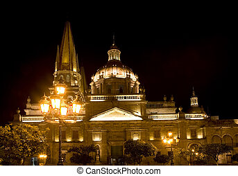 Cathedral Guadalajara Mexico at Night - Guadalajara Mexico...